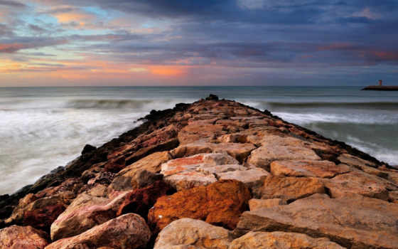 breaker, water, rock, море, waves, hdr,