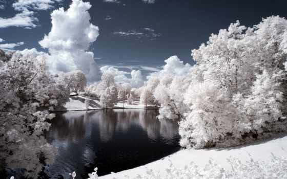 winter, лес, иней, река, trees, снег, вечер, photoshop, озеро, берег,