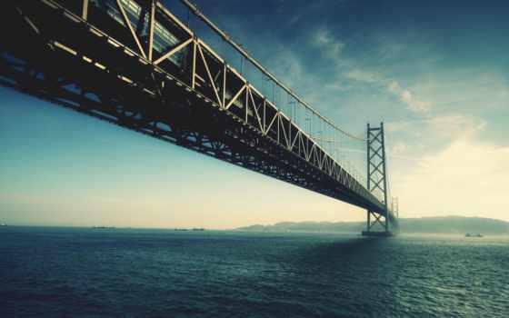 ,, мост, fixed link, небо, вода, подвесной мост, море, skyway, горизонт,