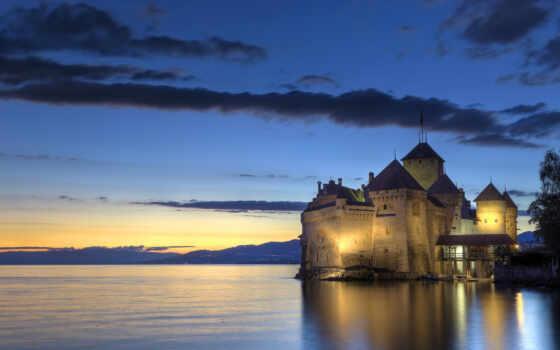 chillon, castle, швейцария, chateau, château, fond, adulte, sur, hebergement, montreau, ecran