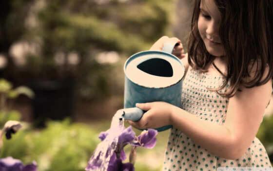 девочка, девушки, дети, настроение, девочки, цветы, поливает, лейка, картинка,