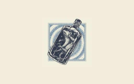 мертвая, бутылка, капсула, минимализм, крыса, angryblue,