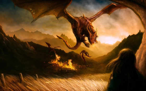 драконы, art, rodg, огонь, девушка, dragons, картинка, fantasy, hinh, полон, rong, картинку,