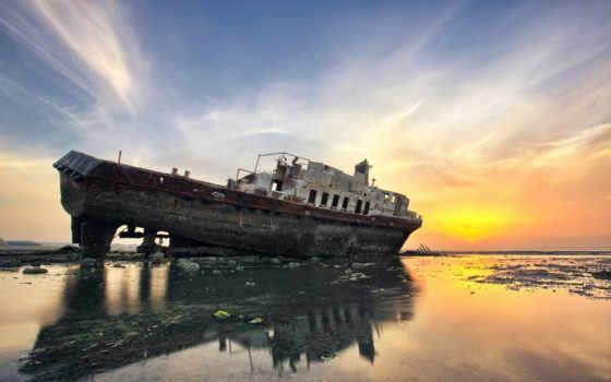 мель, корабль, море, закат, берег, ссылка,