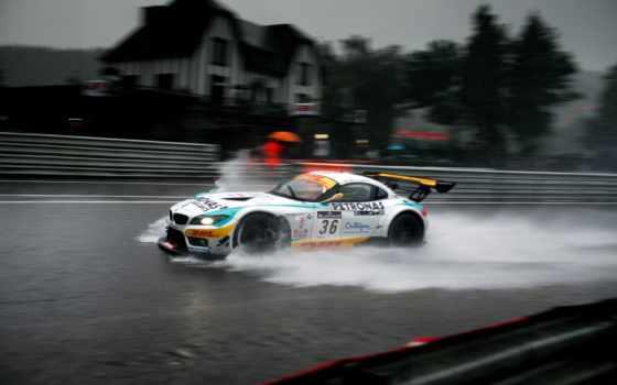 bmw, race, дождь