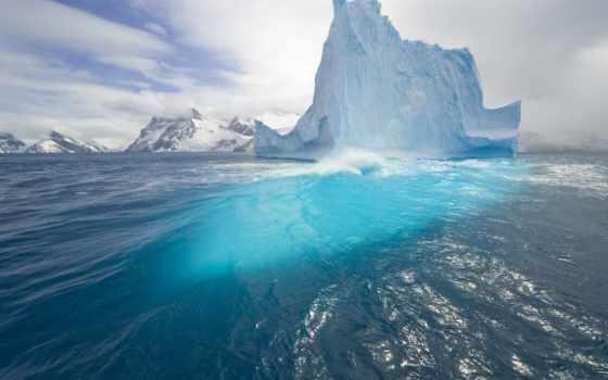blue, iceberg, небо