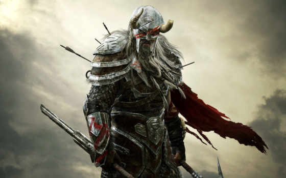 elder, online, шлем, прокрутка, рога, воин, доспех, картинка,