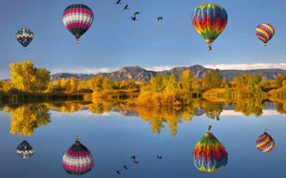 воздушные, шары, природа,