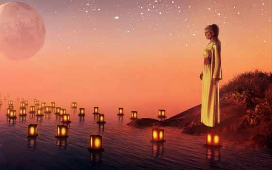 свечи, женщина, water, planet, печаль, звезды, закат,