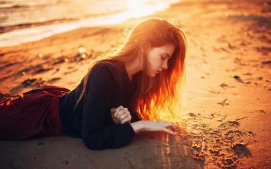 девушка, волосы, sunshine, пляж, desktop, lying, long, dusk,