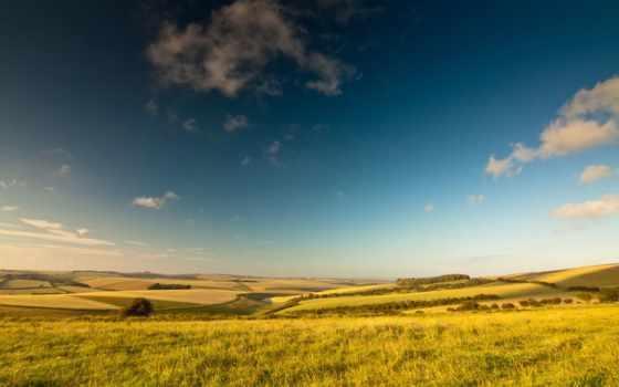 поле, небо, summer, margin, trees, луга, oblaka, reki, моря, pictures, водопады,