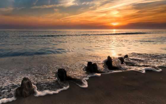 море, закат, романтика, волна, пенка, берег, landscape, камни, оранжевый, спокойствие,