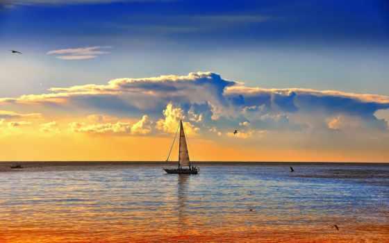 закат, море, sailboat, горизонт, природа, моря, яхта, пейзажи -, закате, oblaka,