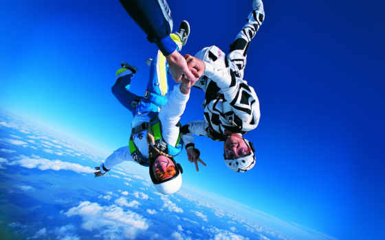 парашютом, прыжок, парашютный, небо, экстрим, time, если,