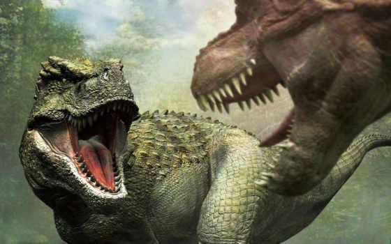 динозавры, зубы, хищники, бой, пасть,