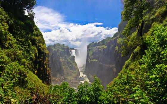 водопады, водопад, зелёный