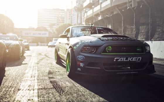 monster, energy, ford, mustang, drift, falken, car,