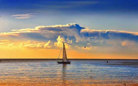 природа, яхта, красивые