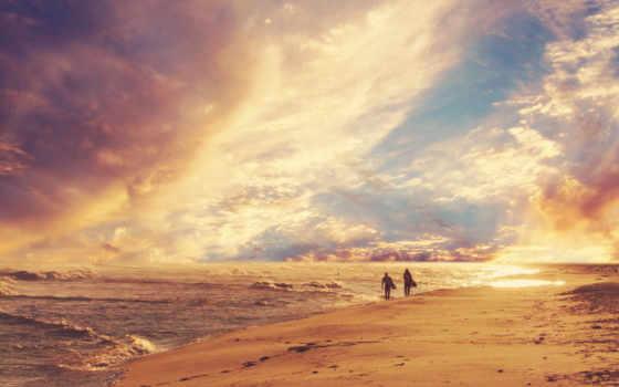 пляж, песок, море, небо, горизонт, waves, сёрфинг, люди, берег, прогулка,