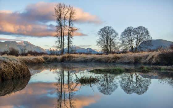 отражение, озеро, trees, пруд, канада, mountains, природа, stock, фото,