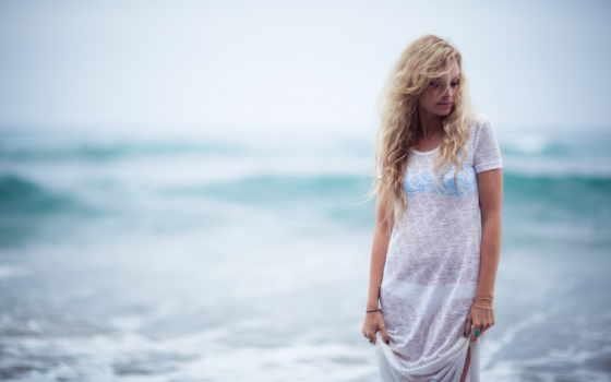 пляж, море, blonde, waves, девушка, freewallsup,