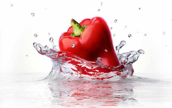 перец, water, red, stock, bell, into, изображение, fotosearch, falling, splashing,