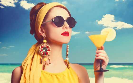 очки, девушка, devushki, море, солнечных, очках, роскошном, соком, vintage,