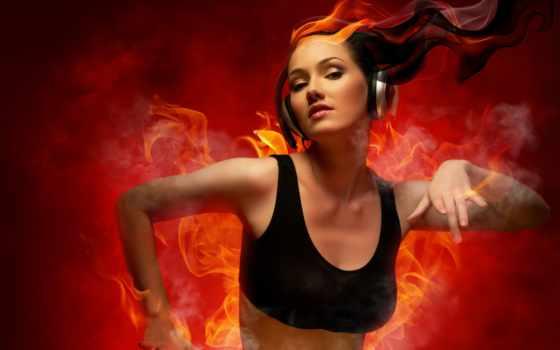 девушка, танцует, headphones, винил, preview, музыка, пламя, огонь,,