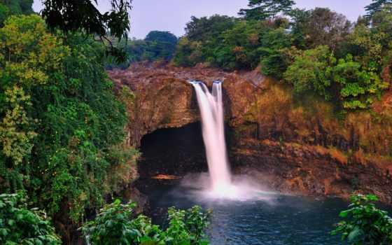 пейзажи -, trees, красивые, state, park, река, wailuku, природа,