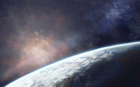 land, cosmos, planet, звезды, небо, сияние,