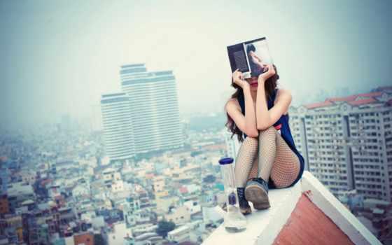 крыша, девушка, книга, город, favim, красивые, страница, devushki, крыше,
