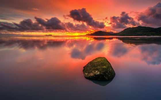 безмолвие, природа, закат, oblaka, озеро, камень, небо, холмы, лес,