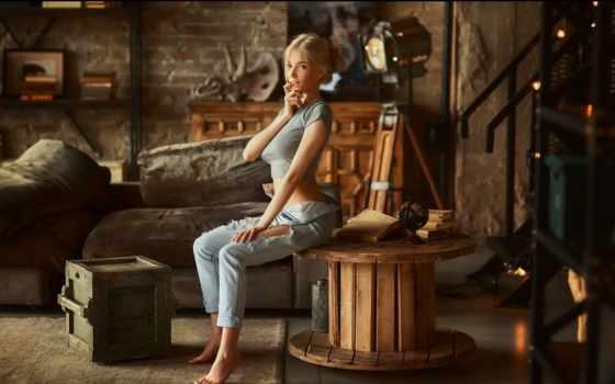 sitting, women, black, crop, blonde,
