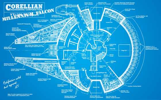 falcon, blueprint, millennium, плакат, star, war