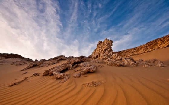 пустыня, египетский, песок, небо, landscape, облако, rock