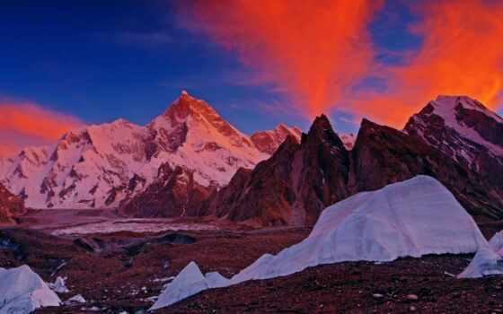 summit, masherbrum, комментарий, ручей, glacier, high, деревня, озеро, satpara, mount
