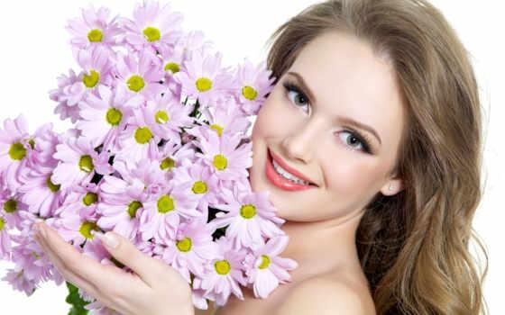 девушка, цветы, букет
