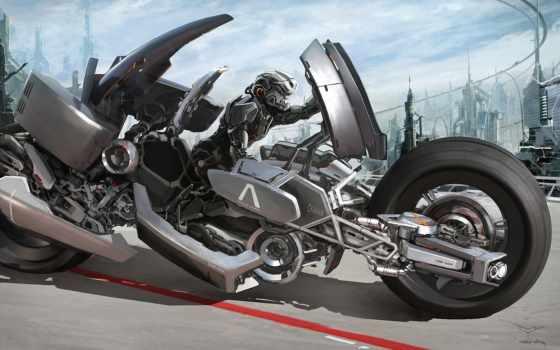robot, марк, мотоцикл, yang, город, будущее, роботы, art, транспорт, fantasy,