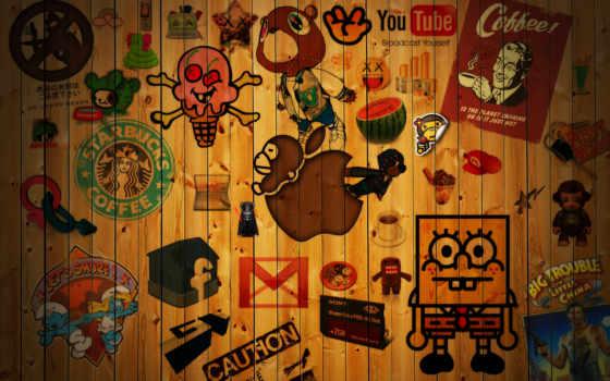 бренды, креативные, стена, логотипов,