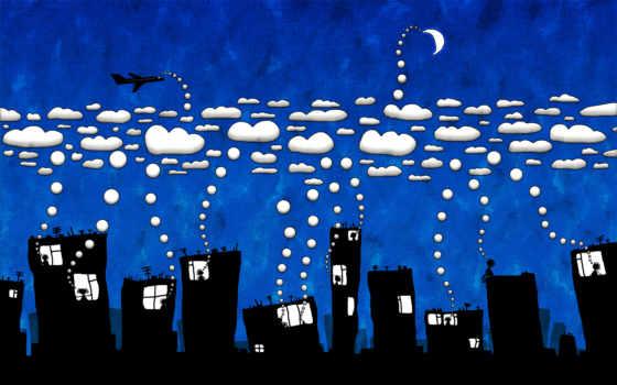 юмор, креативные, город, широкоформатные, смотрите, рисунок, качественные, лампочка,
