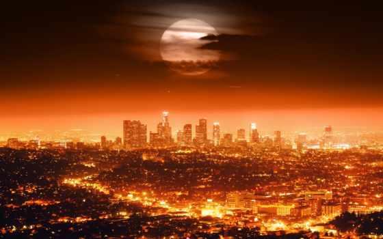 los, angeles, ночь, огни, город, луна, сша, usa,