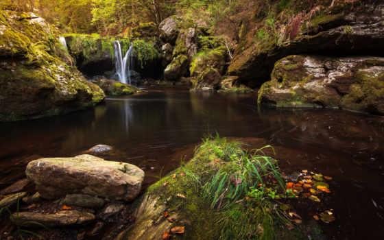 камни, природа, ручей, мох, craighat, скалы, swiss, водопад,