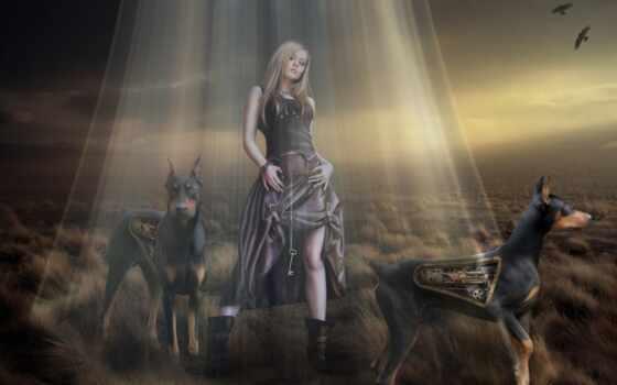девушка, доберман, собака, взгляд, ключ, robot, art, фантасмогория, fantasy