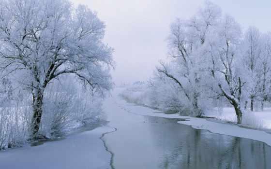 winter, река