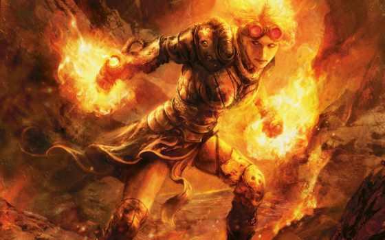 огонь, девушка, маг