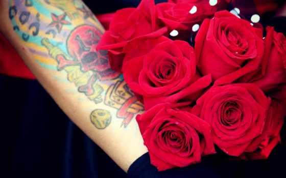 новости, татуировкой, украины, цветы, тату, розы, татуировка, букет, черепа,