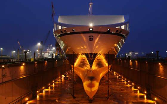 порт, ночь, прожекторы, судно, док, anchores, огни, корабль, bore, dry, море,