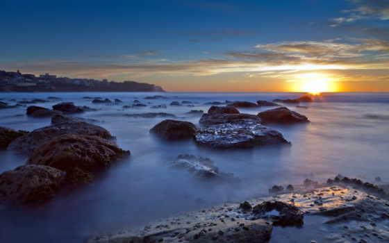 landscape, море, закат, daisy, pin,