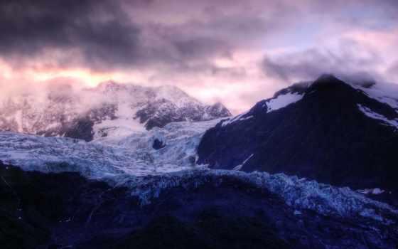 горы, снег, скалы, height, oblaka, горах,