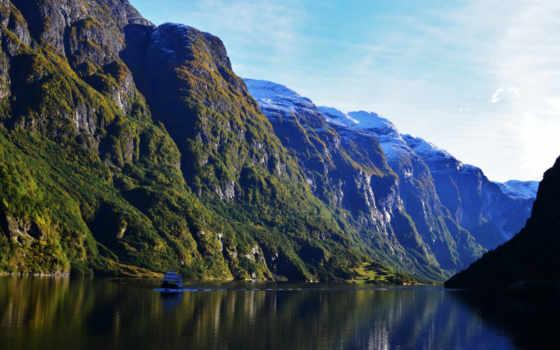 горы, река, норвегия